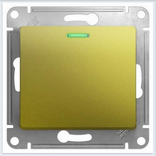 Переключатель 1-клавишный с подсветкой Glossa Фисташковый  GSL001063