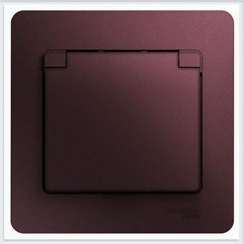Розетка с/з со шторками с крышкой, в сборе, IP20 Glossa Баклажановый  GSL001146