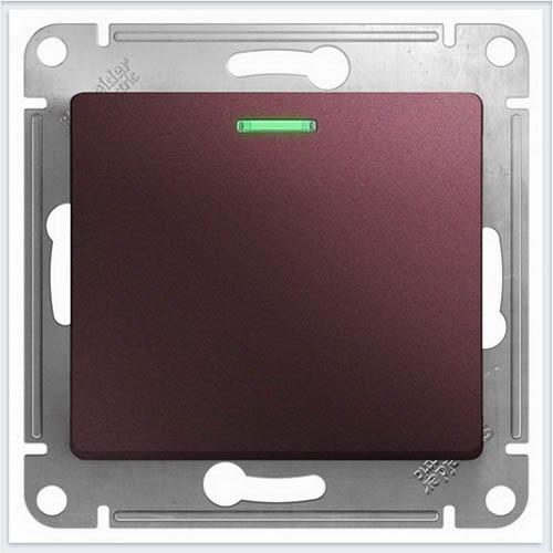 Переключатель 1-клавишный с подсветкой Glossa Баклажановый  GSL001163