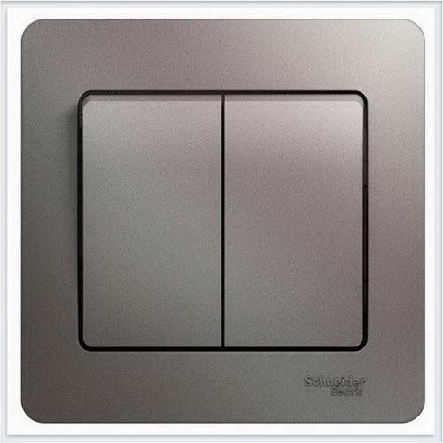 Выключатель 2-клавишный, в сборе Glossa Платина  GSL001252