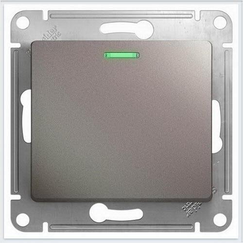 Переключатель 1-клавишный с подсветкой Glossa Платина  GSL001263