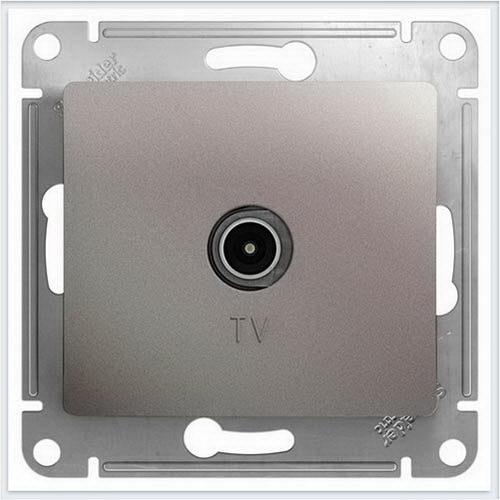 Розетка TV проходная 4DB, механизм Glossa Платина  GSL001292