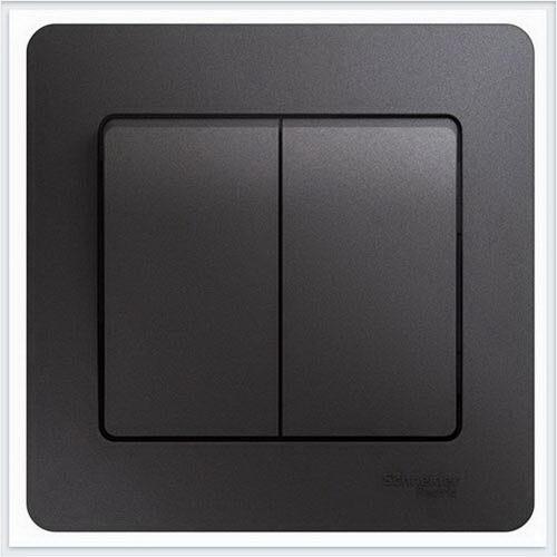 Выключатель 2-клавишный, в сборе Glossa Графит  GSL001352