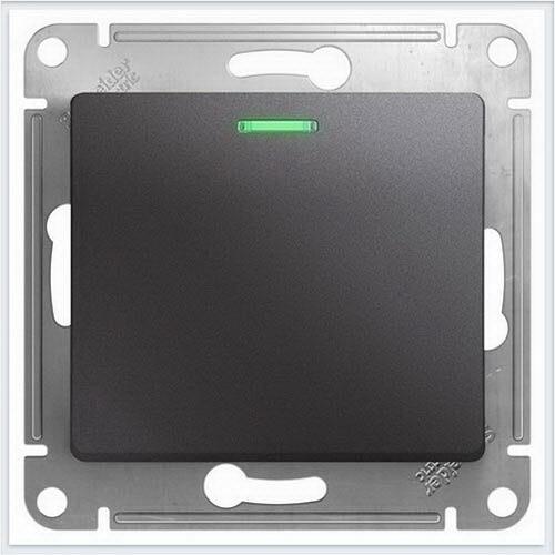 Переключатель 1-клавишный с подсветкой Glossa Графит  GSL001363
