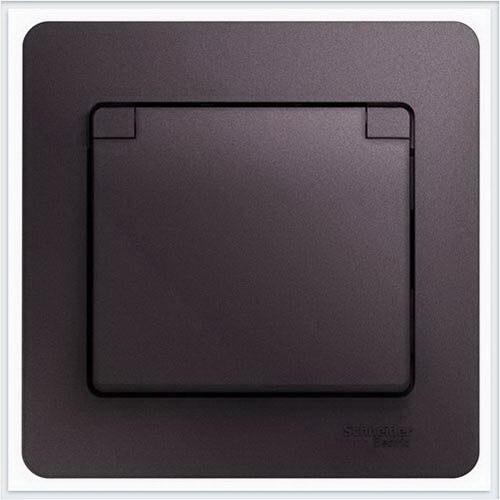 Розетка с/з со шторками с крышкой, в сборе, IP20 Glossa Сиреневый туман  GSL001446