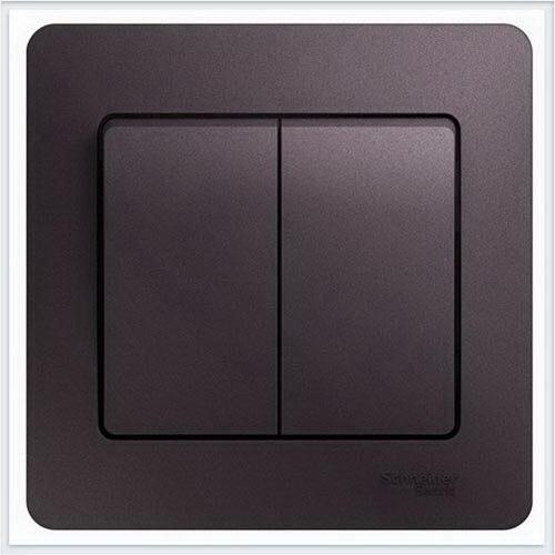 Выключатель 2-клавишный, в сборе Glossa Сиреневый туман  GSL001452