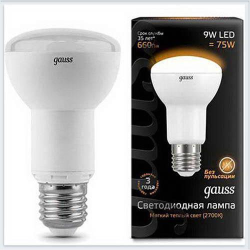 Лампа Gauss Лампа зеркальная LED R63 E27 9W 2700K - 106002109