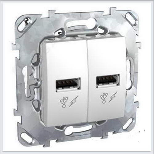 Зарядное уст-во USB 2.0 цвет Белый Schneider-Electric Unica - MGU5.928.18ZD