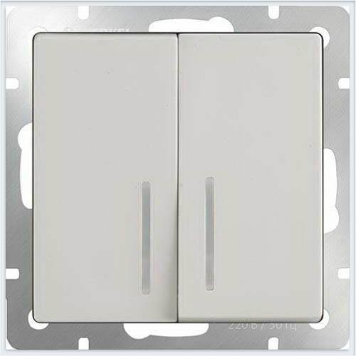 Выключатель двухклавишный с подсветкой LED - слоновая кость Werkel (Веркель) - WL03-SW-2G-LED-ivory
