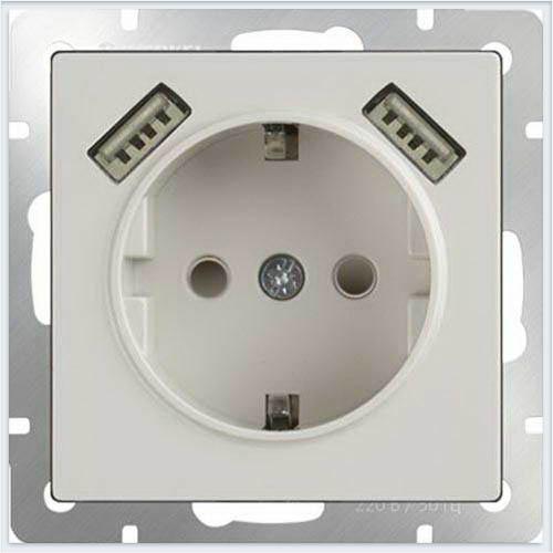 Розетка с заземлением, шторками и USBх2 - слоновая кость Werkel (Веркель) - WL03-SKGS-USBx2-IP20