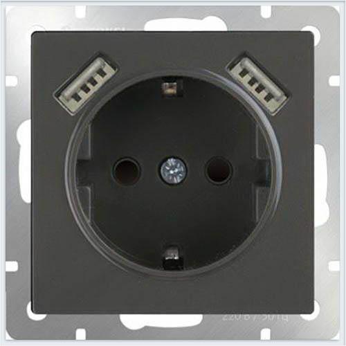 Розетка с заземлением, шторками и USBх2 - серо-коричневый Werkel (Веркель) - WL07-SKGS-USBx2-IP20