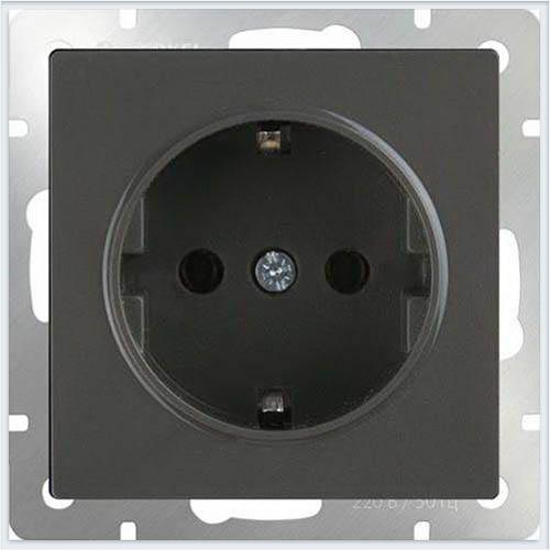 Розетка с заземлением - серо-коричневый Werkel (Веркель) - WL07-SKG-01-IP20