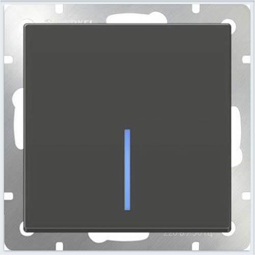 Выключатель одноклавишный с подсветкой LED - серо-коричневый Werkel - WL07-SW-1G-LED