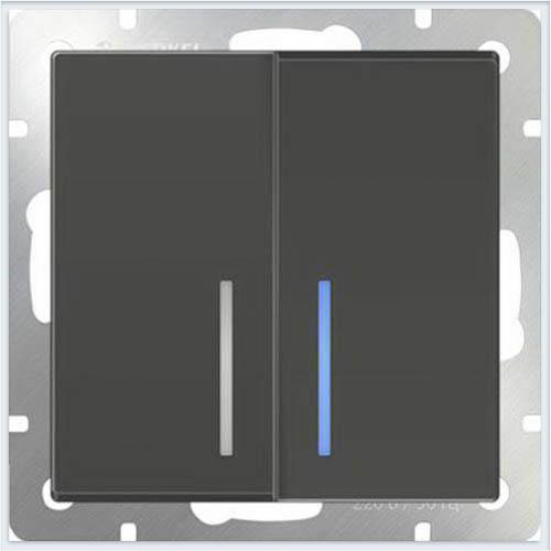 Выключатель двухклавишный проходной - серо-коричневый Werkel (Веркель) - WL07-SW-2G-2W