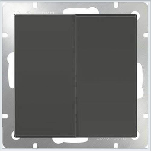 Выключатель двухклавишный с подсветкой LED - серо-коричневый Werkel (Веркель) - WL07-SW-2G-LED