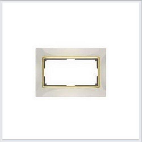 Рамка для двойной розетки белая Werkel (Веркель) Коллекция Snabb - WL03-Frame-01-DBL-white-GD (белый/золото)