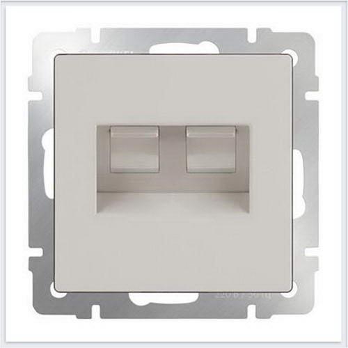 Розетка двойная Ethernet RJ-45 (слоновая кость) Werkel (Веркель) - WL03-RJ45+RJ45-ivory