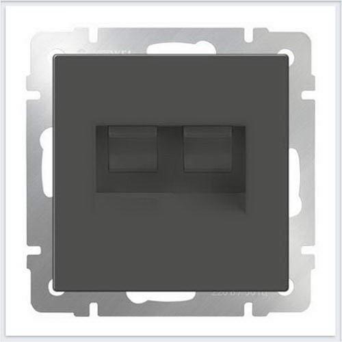 Розетка двойная Ethernet RJ-45 (серо-коричневый) Werkel (Веркель) - WL07-RJ45+RJ45