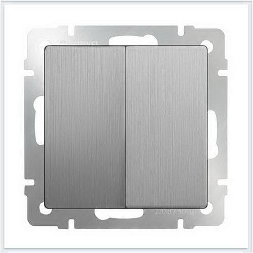 Розетки и выключатели WERKEL (Веркель) - Механизмы цвет Серебряный рифленый - WL09-SW-2G