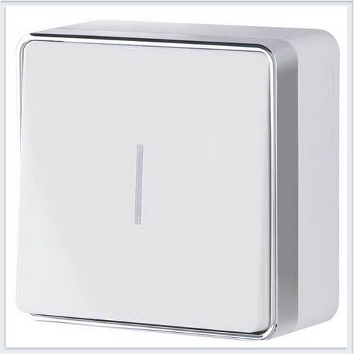 Выключатель одноклавишный с подсветкой Gallant белый