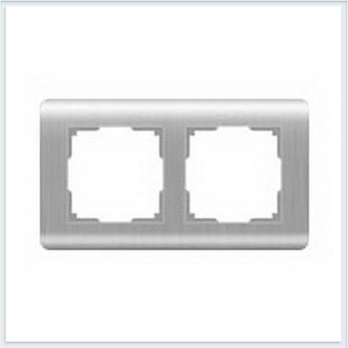 Рамка на 2 поста Werkel (Веркель) Stream серебряный - WL12-Frame-02