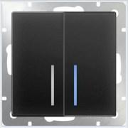Выключатель двухклавишный с подсветкой LED - черный матовый Werkel (Веркель) - WL08-SW-2G-LED