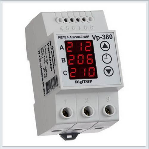 Реле напряжения, Vp-380V, Измерительные приборы, Реле напряжения DigiTOP